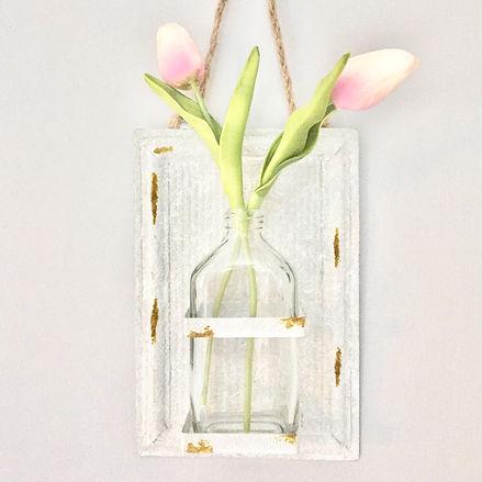 Farmhouse pink tulip hanging planter