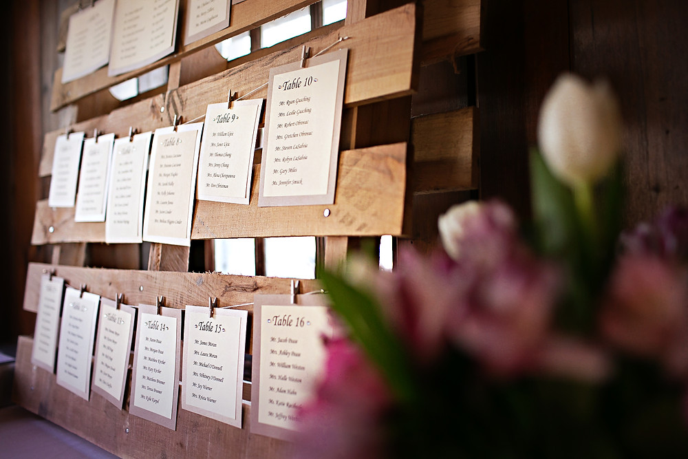 Rustic wedding seating card display