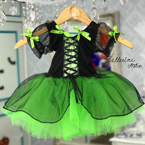 Vestido Bruxa Verde Camponesa