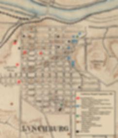 Map of Confederate Hospitals in Lynchburg Virginia