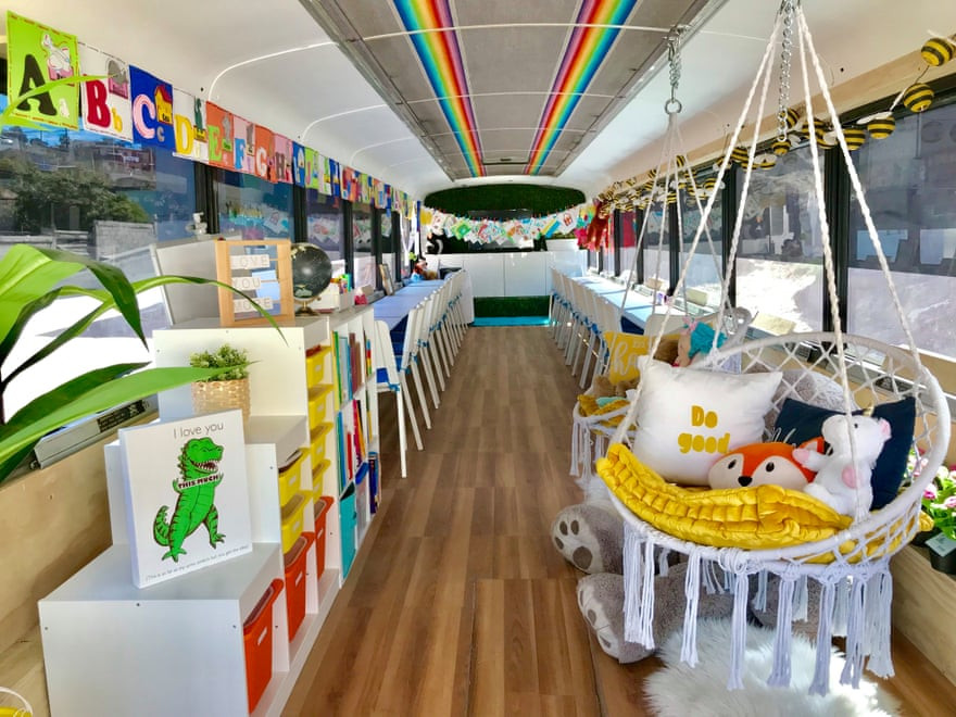 "From the article, ""A bus converted into a library and classroom by California's Yes We Can organisation, in Tijuana, Mexico. Photograph: Norbert Tsi/Yes We Can World Foundation"""