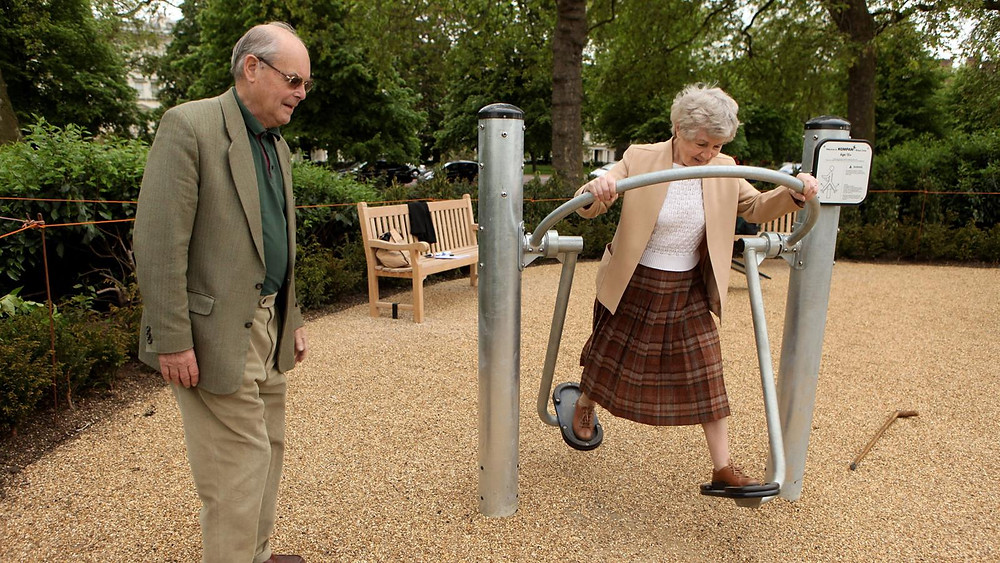 "From article, ""London's Hyde Park Senior Playground is among the many playgrounds for the elderly springing up around the world (Credit: Getty Images)"""