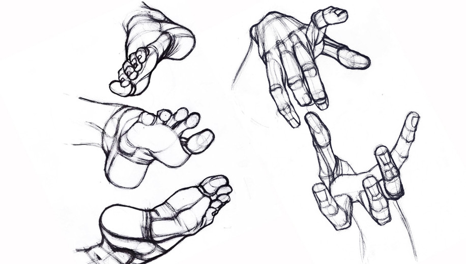 Practice.  Hands and feet sketches