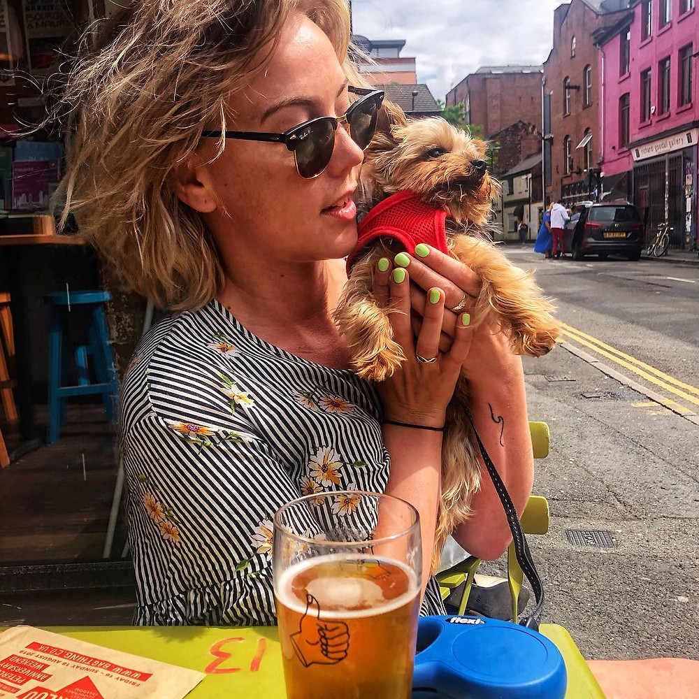Pints in the sunshine with Frank the pup in Manchesters NQ