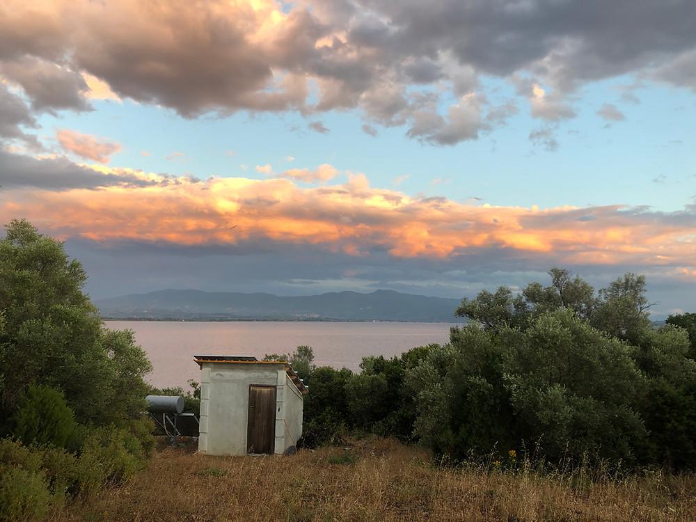 Greece Sunset rural shed