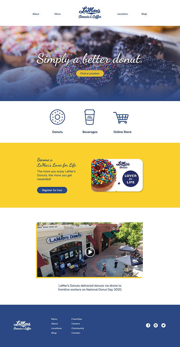 LaMar's Donuts & Coffee website concept