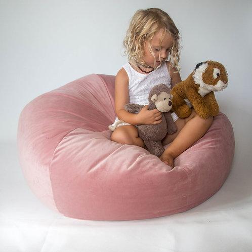 Blushed pink velvet beanbag