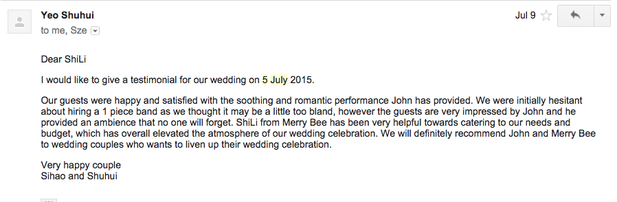 Testimonial for John Lye (Sihao & Shuhui) 5 July 2015 Grand Copthorne.png
