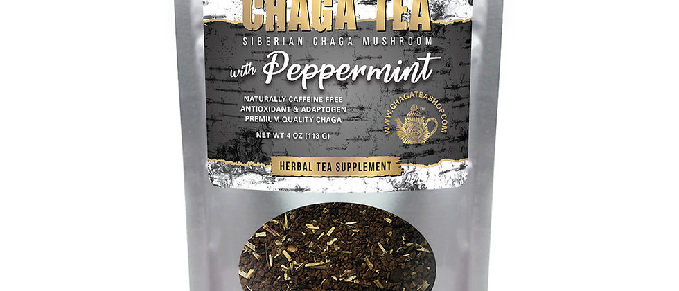 Siberian Chaga Tea Mushroom Loose with Peppermint 4 oz (113g) Caffeine-free