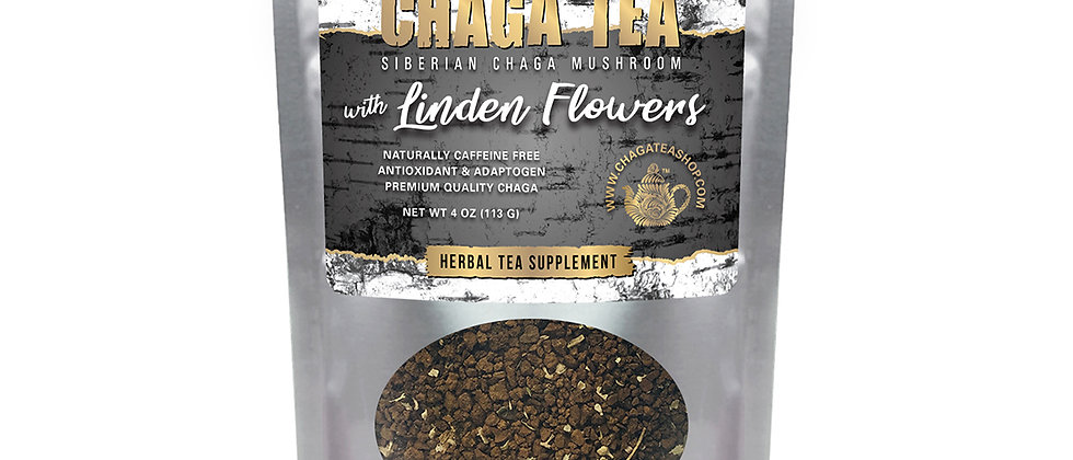 Siberian Chaga Mushroom Loose Tea with Linden Flowers 4 oz (113g) Caffeine-free