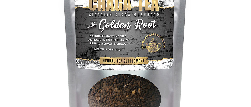 Siberian Chaga Mushroom Loose Tea with Golden Root 4 oz (113g) Caffeine-free