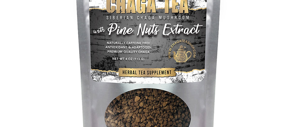 Siberian Chaga Mushroom Loose Tea with Pine Nuts 4 oz (113g) Caffeine-free