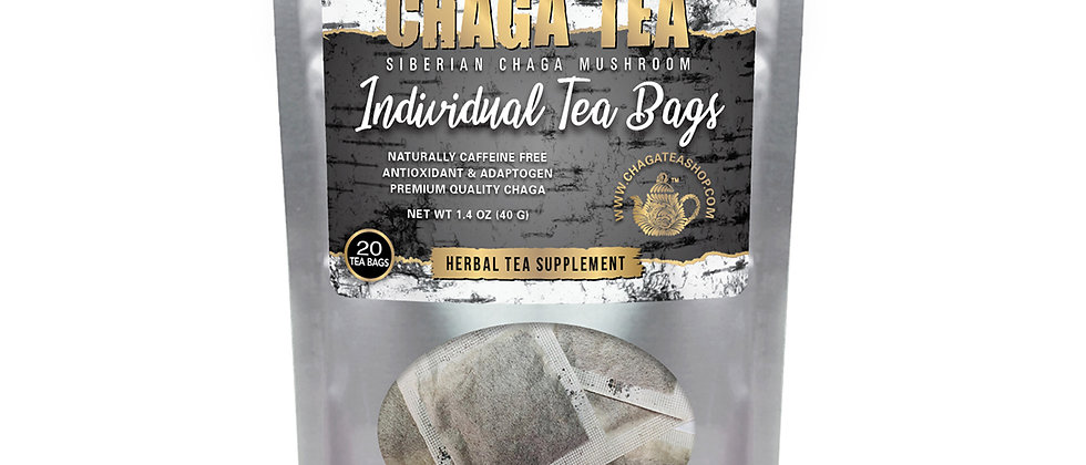 Siberian Chaga Mushroom Tea Individual Filter Tea Bags Original Caffeine-free