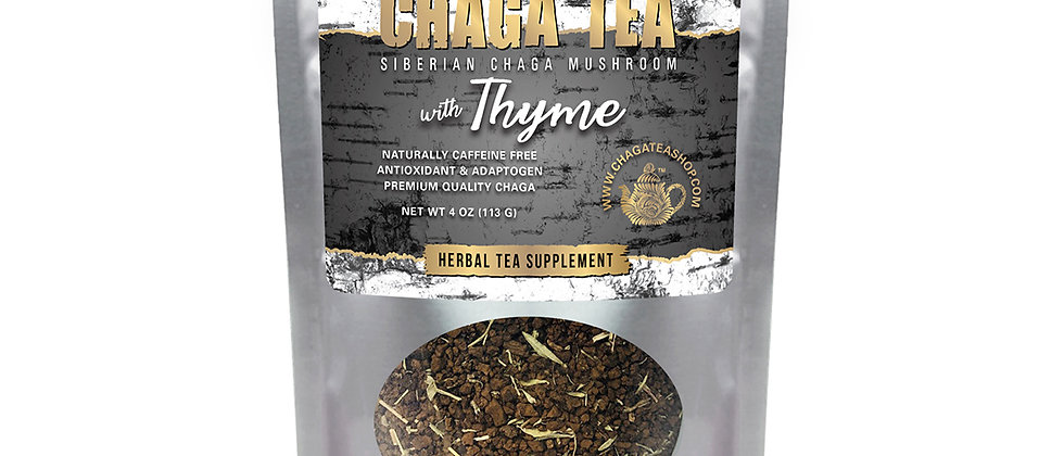 Siberian Chaga Mushroom Loose Tea with Thyme 4 oz (113g) Caffeine-free
