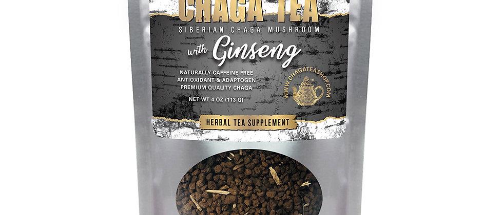 Siberian Chaga Mushroom Loose Tea with Ginseng 4 oz (113g) Caffeine-free