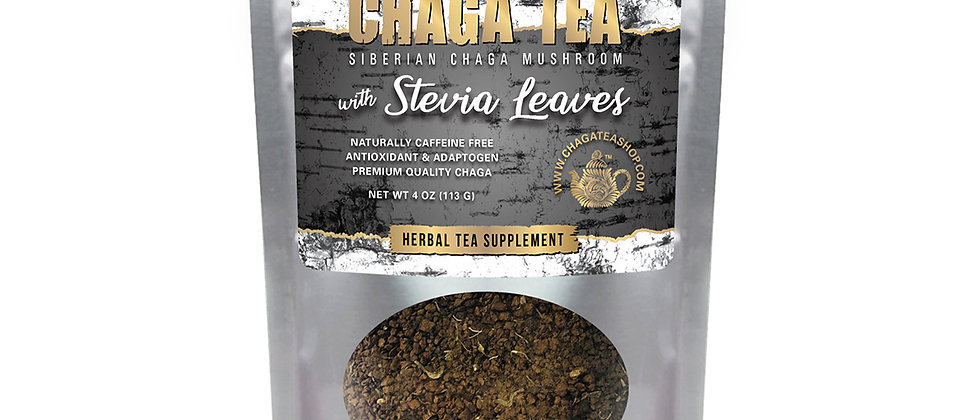 Siberian Chaga Mushroom Loose Tea with Stevia Leaves 4 oz (113g) Caffeine-free