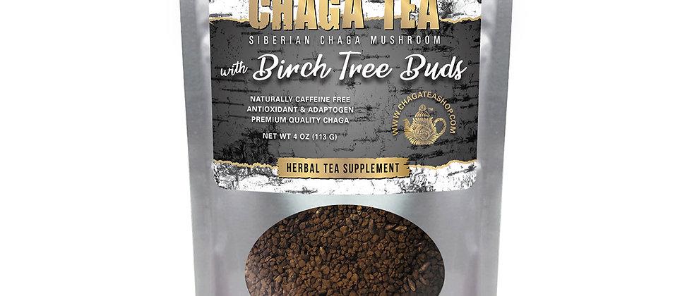 Siberian Chaga Mushroom Loose Tea with Birch Tree Buds 4 oz (113g) Caffeine-free