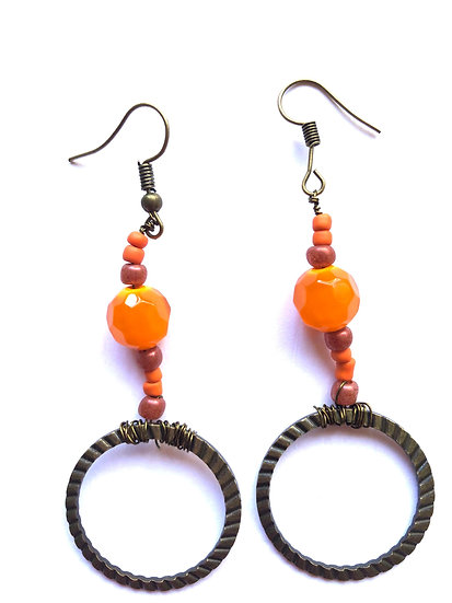 Orange & Bronze Hoop Glass Earrings