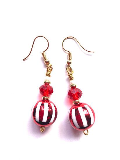 Red Striped Earrings