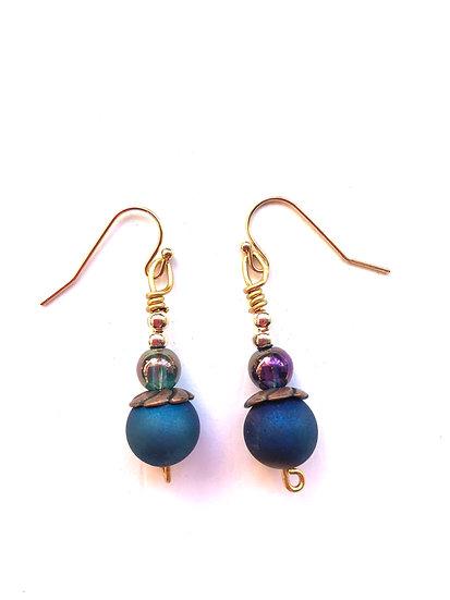 Matte Blue Drop Earrings