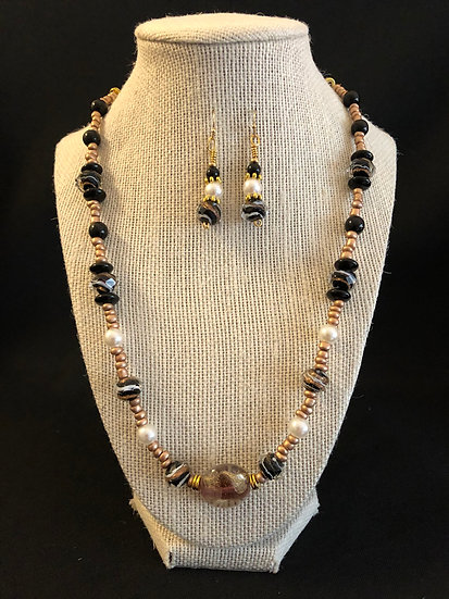 Brown & White Beaded Set