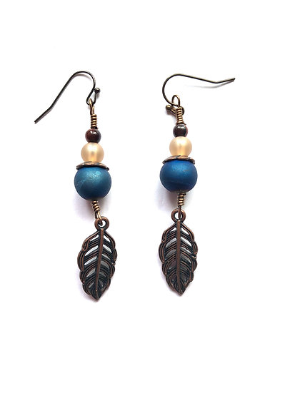 Blue Drop Earrings With Leaf Charm