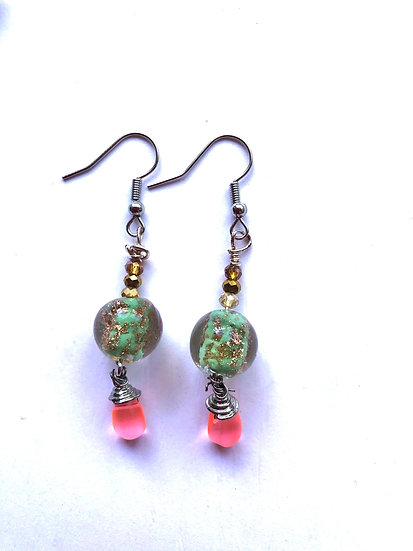 Earth Green & Pink Glass Earrings