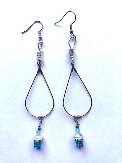 Blue Droplet Glass Earrings