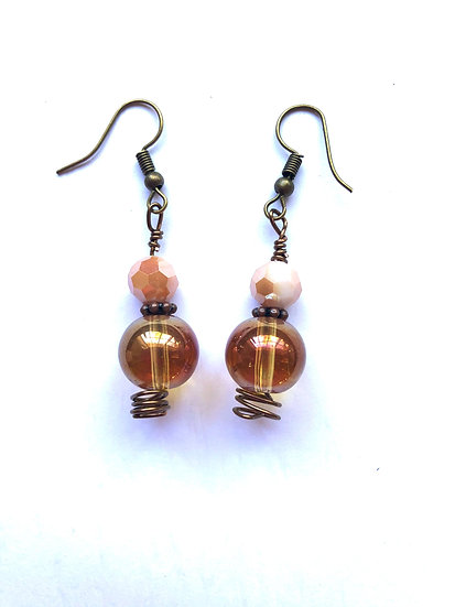 Brown & Pink Glass Earrings
