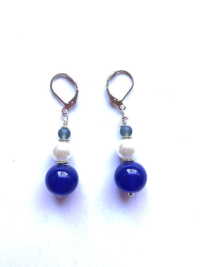 Blue & White Glass Earrings