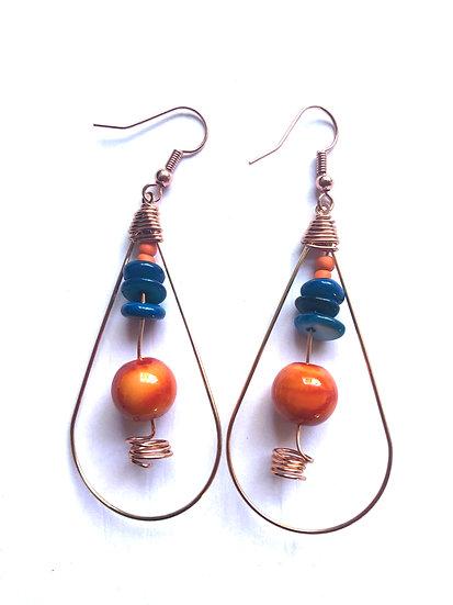 Blue & Orange Drop Earrings