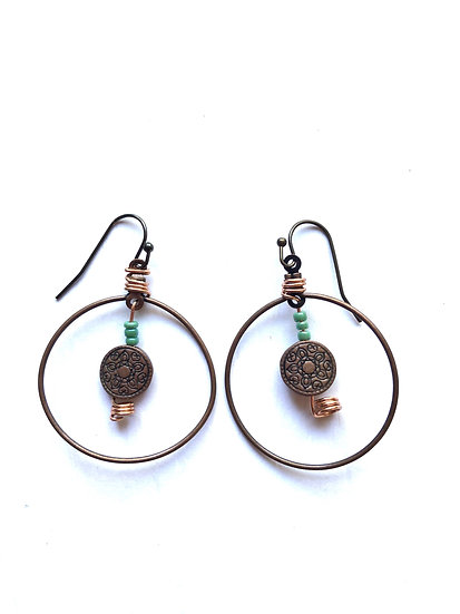 Brown Antique Hoop Earrings
