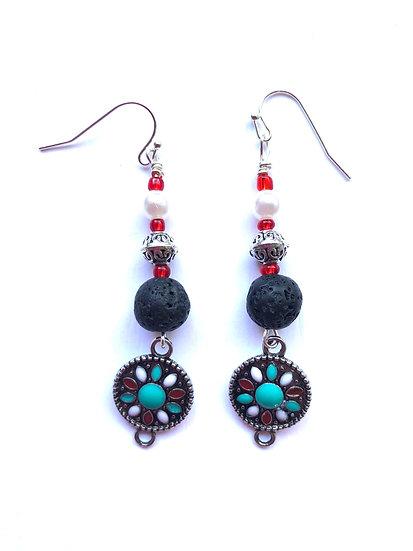 Turquoise & Black Glass Earrings