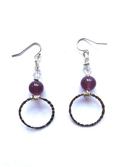 Purple Glass Hoop Earrings