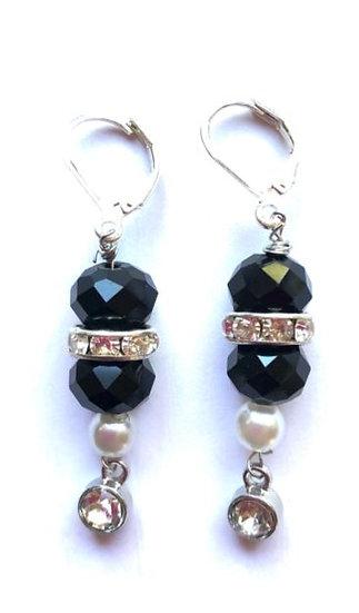 Black & Silver Stoned Earrings