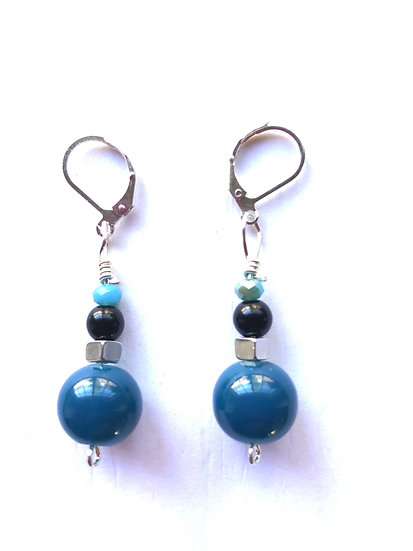 Blue & Black Round Glass Earrings