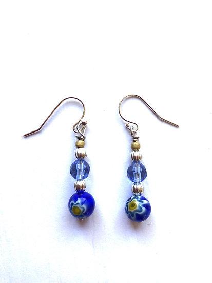 Blue Flower Design Glass Earrings