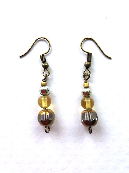 Brown Dangling Glass Earrings
