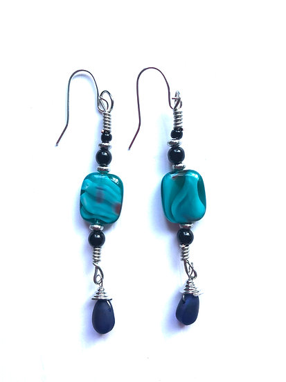 Turquoise & Black Glass Drop Earrings