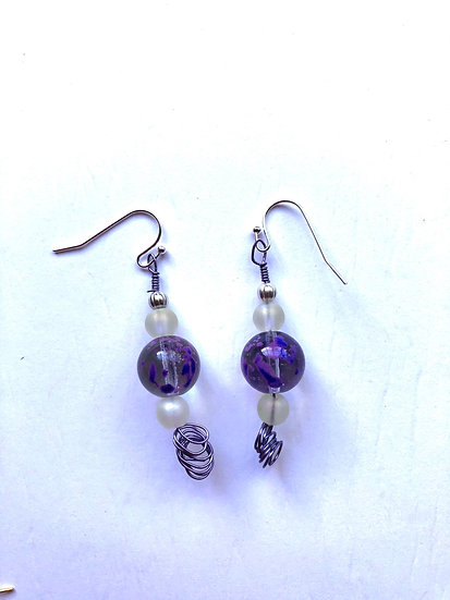 Purple & White Glass Earrings