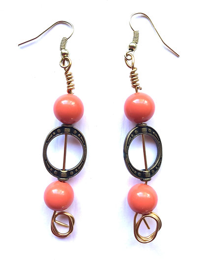Pink Hooped Glass Earrings