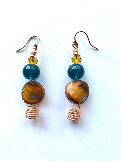 Brown & Blue Glass Earrings