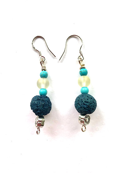 Turquoise & Clear Glass Earrings