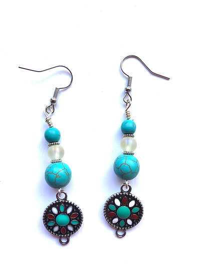 Turquoise & Red Glass Earrings