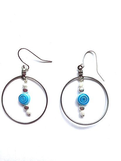 Blue Swirl Round Hoop Earrings