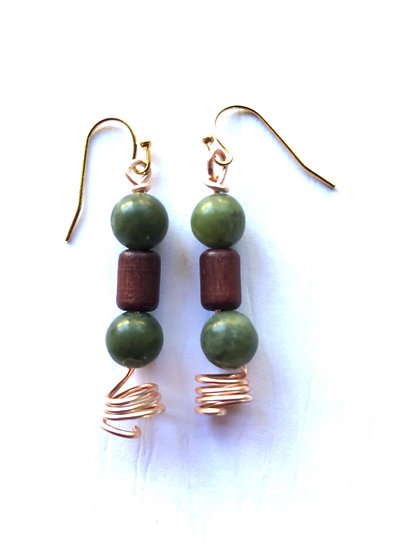 Green & Brown Glass Earrings