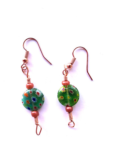 Green Peacock Glass Earrings
