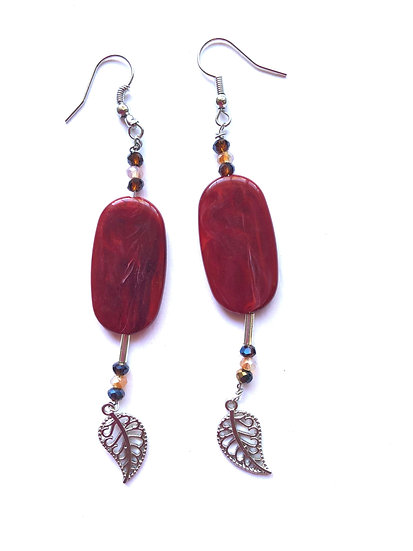 Red & Silver Leaf Glass Earrings