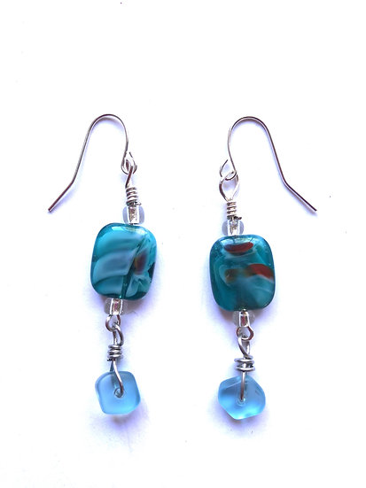 Blue Glass Bead Drop Earrings