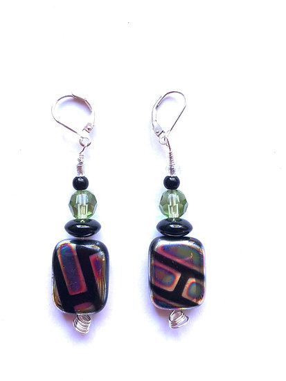 Black & Purple Tri-Color Glass Earrings
